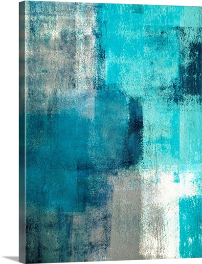 Selected Modern Teal And Gray Abstract Painting Photo