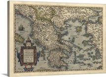 Antique Map of Greece, 1570