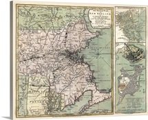 Antique Map of Massachusetts, 1775