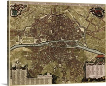 Antique Map of Paris, ca. 1710