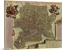 Antique Map of Rome, ca. 1710