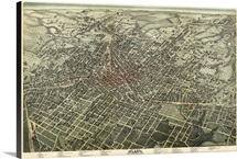 Vintage Birds Eye View Map of Atlanta, Georgia