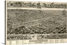 Vintage Birds Eye View Map of Birmingham, Alabama