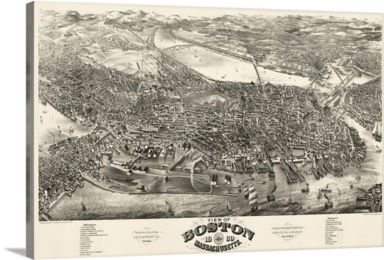 Vintage Birds Eye View Map of Boston, Massachusetts