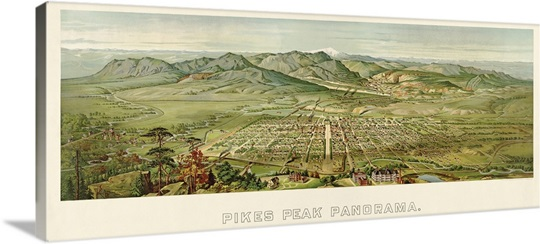 Vintage Birds Eye View Map of Colorado Springs and Pikes Peak, Colorado