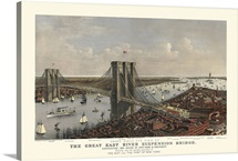 Vintage Birds Eye View Map of the Brooklyn Bridge and New York