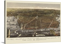 Vintage Birds Eye View Map of the City of Brooklyn