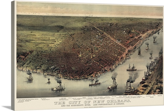 Vintage Birds Eye View Map of the City of New Orleans