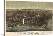 Vintage Birds Eye View Map of the City of Washington
