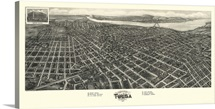 Vintage Birds Eye View Map of Tulsa, Oklahoma