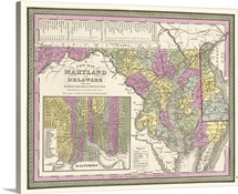 Vintage Map of Maryland and Delaware wih their Canals, Roads, and Distances