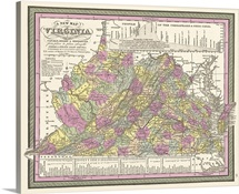 Vintage Map of Virginia with its Canals, Roads, and Distances from Place to Place