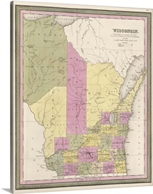 Vintage Map of Wisconsin