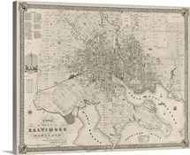 Vintage Map Plan of the City of Baltimore, Maryland