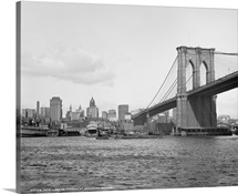 Vintage photograph of Brooklyn Bridge and East River, New York City