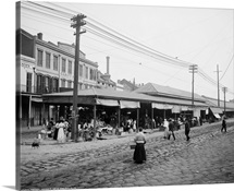 Vintage photograph of French Market, New Orleans, Louisiana