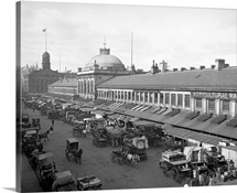 Vintage photograph of Quincy Market, Boston, Massachusetts