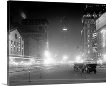 Vintage photograph of Times Square at Night, New York City