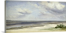 A Beach on the Baltic Sea at Laboe, 1842 (w/c on paper on card)