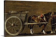 A Farm Cart with two Horses in Harness
