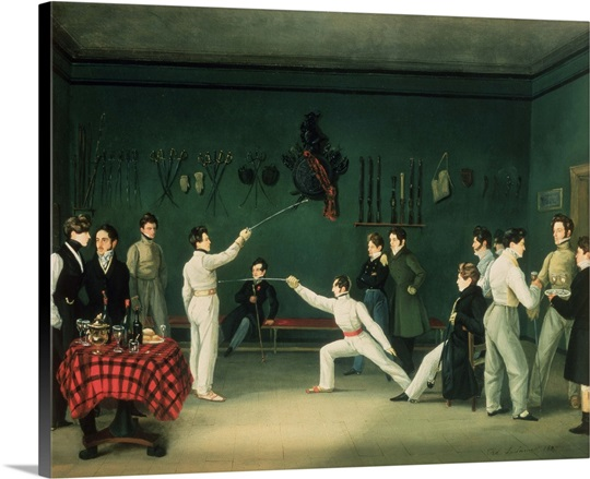 A Fencing Scene, 1827 (oil on canvas)