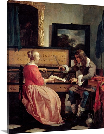 A Man and a Woman Seated by a Virginal, c.1665 (oil on panel)