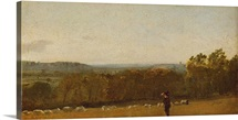 A Shepherd in a Landscape looking across Dedham Vale towards Langham,