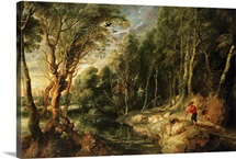 A Shepherd with his Flock in a Woody landscape, c.1615 22 (oil on oak)