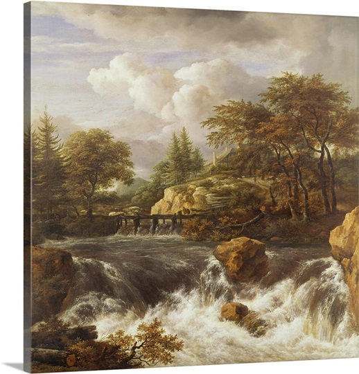 A Waterfall in a Rocky Landscape, c.1660-70 (oil on canvas)