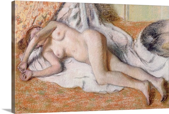 After the Bath or, Reclining Nude, c.1885 (pastel on paper)