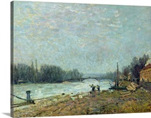 After the Thaw, the Seine at Suresnes Bridge, 1880 (oil on canvas)