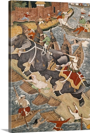 Akbar Tames the Savage Elephant, Hawa'i, Outside the Red Fort at Agra