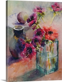 Anemones in Green Glass Vase, 2002 (w/c on paper)