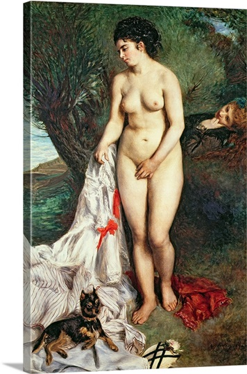 Bather with a Griffon dog, 1870 (oil on canvas)