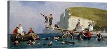 Bathing at Etretat (oil on canvas)