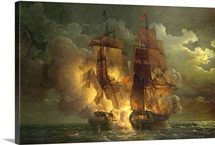 Battle Between the French Frigate 'Arethuse' and the English Frigate 'Amelia'
