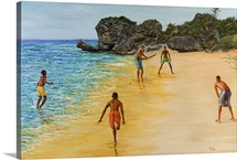 Beach Cricket (oil on canvas)