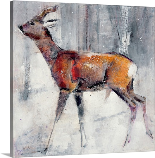 Buck in the snow, 2000 (mixed media on paper)