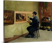 Charles Philippe Gevens, father in law of the artist, painting in his studio 21