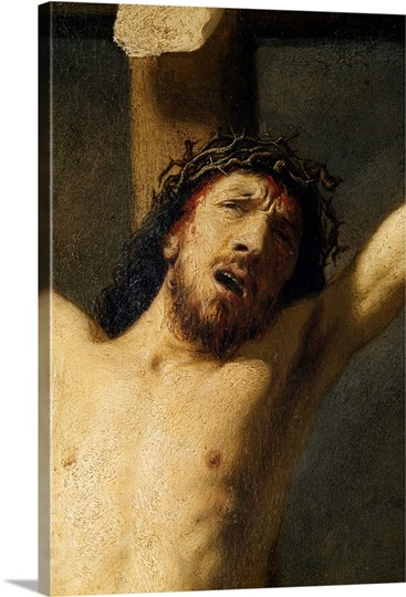 Christ on the Cross, detail of the head (oil on canvas) (detail of 154029)