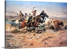 Cowboys roping a steer, 1897