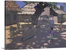 Donkeys, Lamu, Kenya, 1995 (oil on canvas)