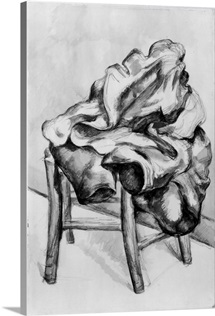 Drapery on a Chair, 1980 1900 (pencil and w/c wash on paper) (b/w photo)