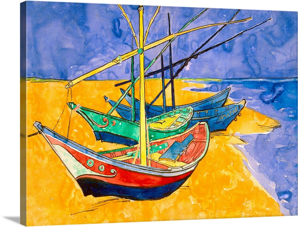 Fishing Boats on the Beach at Saintes Maries de la Mer (pen & ink with w/c on paper)