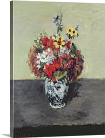 Flowers in a Delft vase, c.1873 75 (oil on canvas)