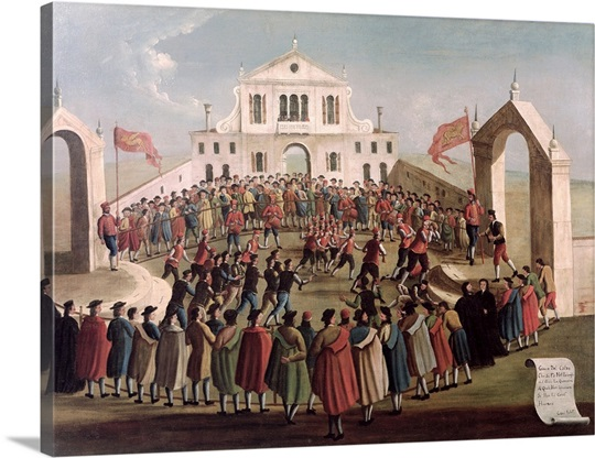 Game of Football at Sant'Alvise, Venice (oil on canvas)