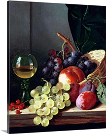 Grapes and plums (oil on canvas)