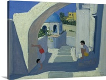 Handstand, Santorini (oil on canvas)
