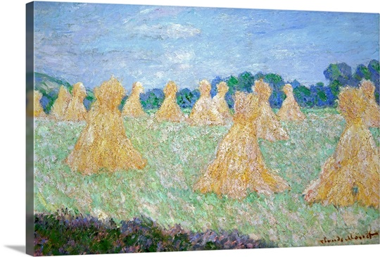 Haystacks, The young Ladies of Giverny, Sun Effect (oil on canvas)