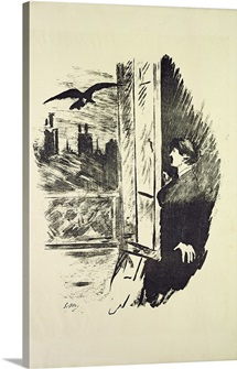 Illustration for The Raven, by Edgar Allen Poe, 1875 (litho)